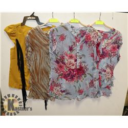 LOT OF NEW WOMENS TOPS - 2 MEDIUM AND 2 SMALL.