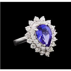 3.33 ctw Tanzanite and Diamond Ring - 14KT White Gold