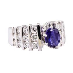 2.56 ctw Blue Sapphire And Diamond Ring - 14KT White Gold