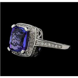 3.91 ctw Tanzanite and Diamond Ring - 14KT White Gold