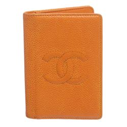 Chanel Orange Caviar Leather CC Logo Small Bifold Cardholder Wallet