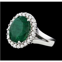5.76 ctw Emerald and Diamond Ring - 14KT White Gold