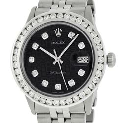 Rolex Mens Stainless Steel Black Jubilee 3 ctw Diamond Datejust Wristwatch