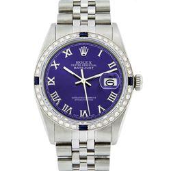 Rolex Mens Stainless Steel Purple Roman Diamond & Sapphire Datejust Wristwatch