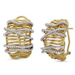 18k Gold 0.98CTW Diamond Earrings, (VS1-VS2/G)