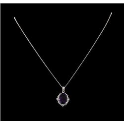 4.46 ctw Amethyst and Diamond Pendant With Chain - 14KT White Gold