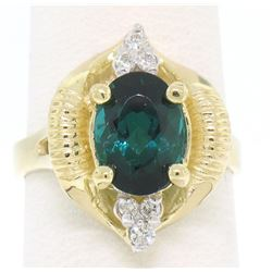 14k Yellow Gold 2.41 ctw Green Blue Oval UNIQUE Tourmaline & Diamond Dinner Ring