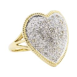 0.50 ctw Diamond Heart Shaped Ring - 14KT Yellow Gold