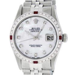 Rolex Mens Stainless Steel MOP Diamond & Ruby 36MM Datejust Wristwatch