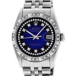 Rolex Mens Stainless Steel Blue Vignette Pyramid Diamond Bezel Datejust Wristwat