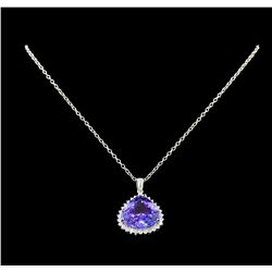 21.58 ctw Tanzanite and Diamond Pendant With Chain - 14KT White Gold