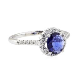 0.96 ctw Sapphire and Diamond Ring - 14KT White Gold