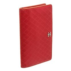 Chanel Red Leather Stitched Long Wallet