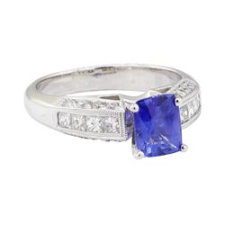 2.13 ctw Sapphire and Diamond Ring - 18KT White Gold