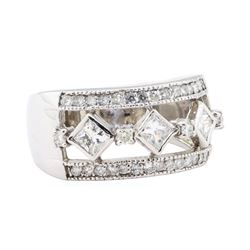 1.00 ctw Diamond Wide Band Ring - 14KT White Gold