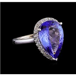 5.82 ctw Tanzanite and Diamond Ring - 14KT White Gold