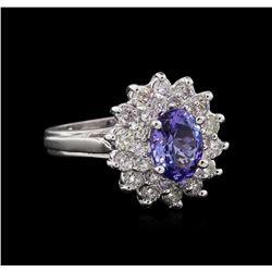 1.71 ctw Tanzanite and Diamond Ring - 14KT White Gold