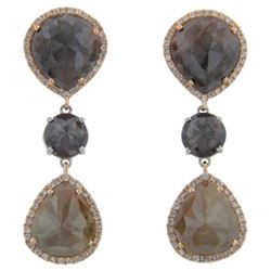 14k Two Tone Gold 14.70CTW Diamond and Rough Diamond Earrings, (SI3/G)
