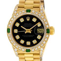 Rolex Ladies 18K Yellow Gold Black Diamond And Emerald President Wristwatch With