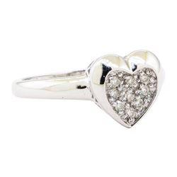 0.25 ctw Diamond Heart Shaped Motif Ring - 14KT White Gold
