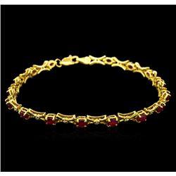 10KT Yellow Gold 3.50 ctw Ruby and Diamond Bracelet