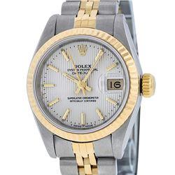 Rolex Ladies 2 Tone 14K Silver Index Tapestry Fluted Datejust Wristwatch
