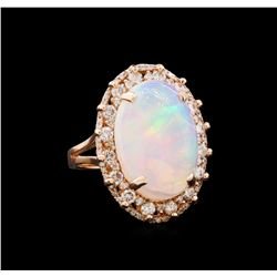 7.08 ctw Opal and Diamond Ring - 14KT Rose Gold