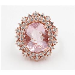 6.23 ctw Morganite and Diamond Ring - 14KT Rose Gold