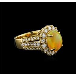 2.27 ctw Opal and Diamond Ring - 14KT Yellow Gold