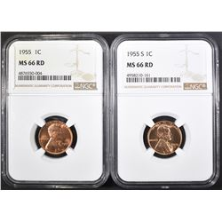 1955 & 55-S LINCOLN CENTS, NGC MS-66 RED