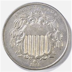 1868 SHIELD NICKEL AU