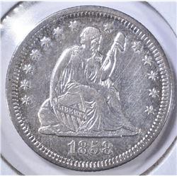 1858 SEATED LIBERTY QUARTER AU