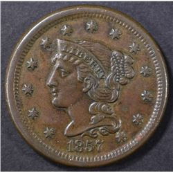 1857 LIBERTY HEAD LARGE CENT SMALL DATE CH UNC BN