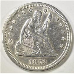 1873 SEATED LIBERTY QUARTER   AU