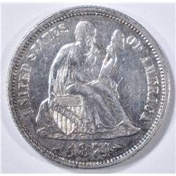 1874 SEATED LIBERTY DIME   AU/BU