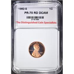 1982-S LINCOLN CENT, TDCS PERFECT GEM PR RED DCAM