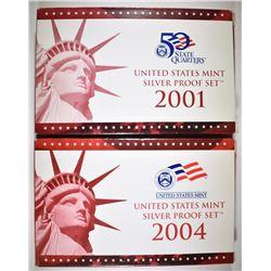 2001 & 2004 U.S. SILVER PROOF SETS ORIG PACKAGING