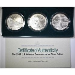 1994 U.S. VETERANS 3-Pcs UNC SILVER DOLLAR SET