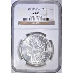 1921 MORGAN SILVER DOLLAR, NGC MS-63