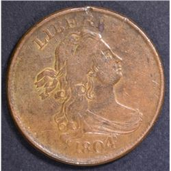 1804 HALF CENT  AU  CROSSLET 4, NO STEM