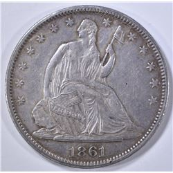 1861 SEATED LIBERTY HALF DOLLAR  NICE AU