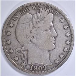1909-S BARBER HALF DOLLAR  VF