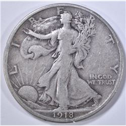 1918-D WALKING LIBERTY HALF DOLLAR  VF