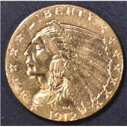 1912 $2.5 GOLD INDIAN  CH BU