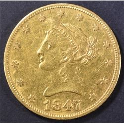 1847-O $10 GOLD LIBERTY  AU/BU  OLD CLEANING