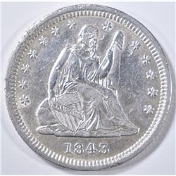 1843 SEATED LIBERTY QUARTER  AU  DAMAGE