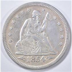 1854 SEATED LIBERTY QUARTER   AU