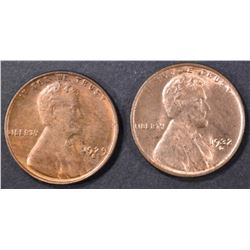 1932-D & 29-S LINCOLN CENTS  CH BU RB