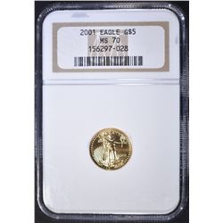 2001 $5 AMERICAN GOLD EAGLE, NGC MS-70!
