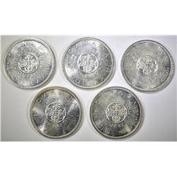 5-1964 BU CANADIAN SILVER DOLLARS
